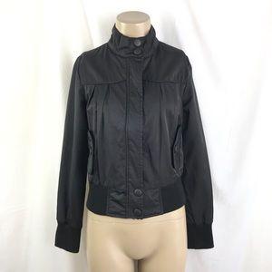 Sleek Black Fitted Bomber Style Jacket w/ Pockets